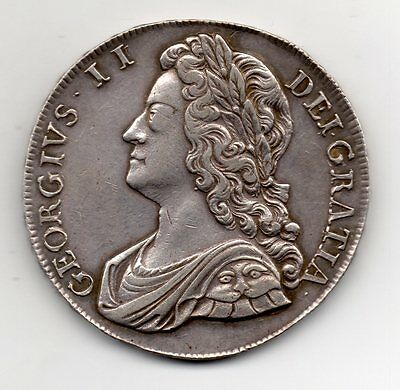 1734 Crown, George Ii Young Head, Roses And Plumes