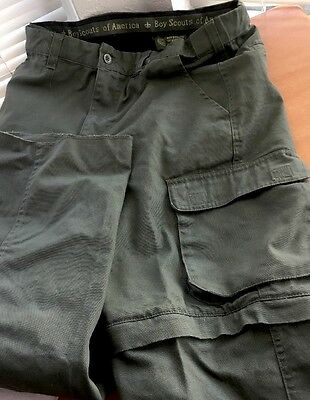Boy Scouts Of America Uniform Pants Cargo Convertible Shorts Zip Off Youth 16