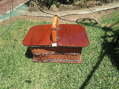 Beautiful Vintage Sewing Basket Pretty Craft Retro Plastic & Cain  Funky