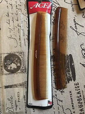 "Lot Of 2 Vintage 1996 Genuine ACE 7"" Ebonite Brown Hair Comb Hard Rubber New"