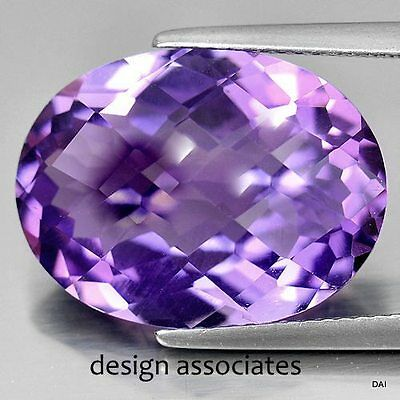 Amethyst Fluorite 11X9 Mm Oval Cut All Natural Gemstone Checkerboard Top