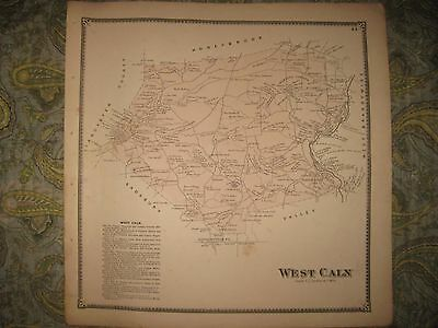 Antique 1873 West Caln Township Chester County Pennsylvania Handcolored Map Rare