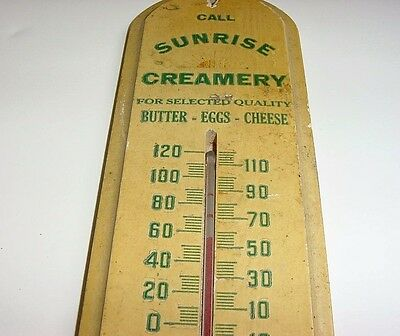 RARE 1940s Vintage SUNRISE CREAMERY Old Wood Tombstone Thermometer Sign