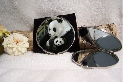 Panda & baby Compact Mirror silvertone dual magnifying mirror with pouch