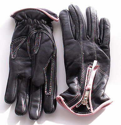Womens Pink & Black Leather - Motorcycle Gloves - Lined - Winter