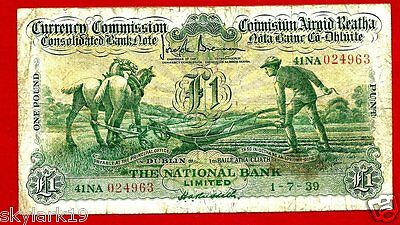 Ireland Rep 1 Pound P26 Vg/f 1939 Ploughman.2  Horses,government Bldg. And Ship
