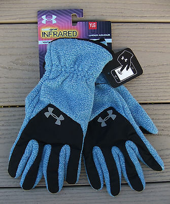 "NWT UNDER ARMOUR ColdGear Infrared ""Fleece"" Tech Touch Boys Gloves-L @$25 BLUE"