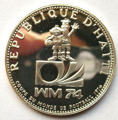Haiti 1973 World Cup 25 Gourde Silver Coin,Proof