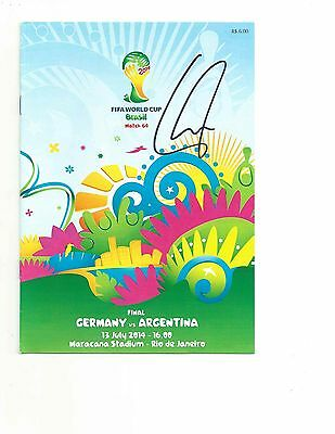 GERMANY PHILIPP LAHM signed autographed 2014 WORLD CUP FINAL PROGRAM BECKETT COA