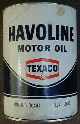 Old Original Texaco HAVOLINE Motor Oil Can 1960's Very Rare