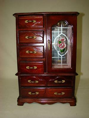 Vintage Wood Jewelry Armoire Chest Box Glass Doors LARGE