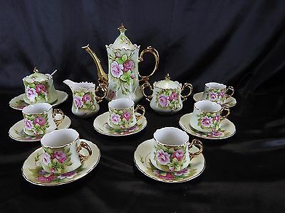 Lefton Heritage Green Complete Service For 6 Tea Set With Jam/Jelly/Marmelade