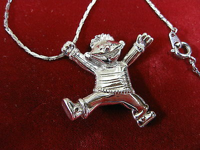 Rhodium Plated Sterling Ernie Sesame Street Necklace Rare Henson Figural
