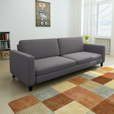 3-Seater Modern Fabric Sofa Lounge Suite Furniture Set Couch w/ Pillow Dark Grey