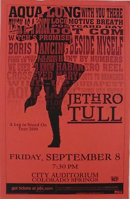 """Jethro Tull 2000 """"a Leg To Stand On Tour"""" Colorado Concert Poster - Ian Anderson"""