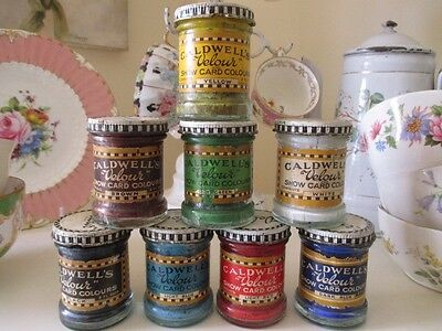 OMG LOOK 8 Gorgeous Vintage Caldwell's Paint Jars Shabby Retro Velour Paints