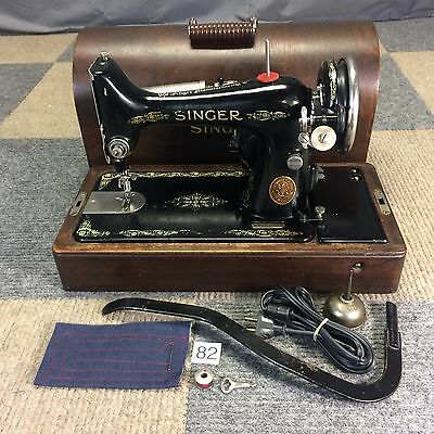 Serviced Works Perfectly 1927 Singer 99 Heavy Duty Sewing Machine Bentwood Case
