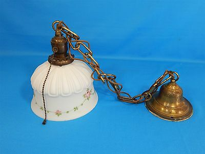 Antique Satin Glass Hand Painted Pink Floral Shade Pendant Light Fixture