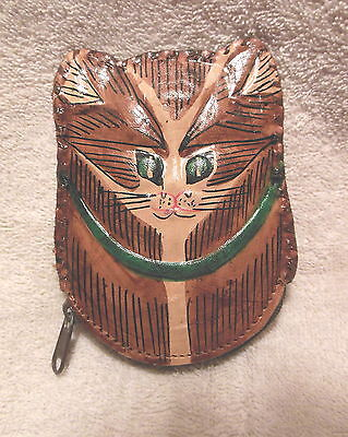 Hand Tooled Leather Cat Head Zippered  Coin Purse Made In Ecuador New
