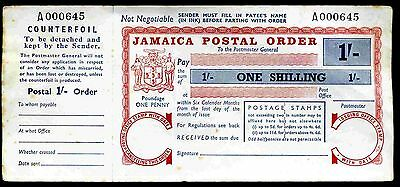 Jamaica, One Shilling postal order, One Penny Poundage, Low No,with counterfoil.