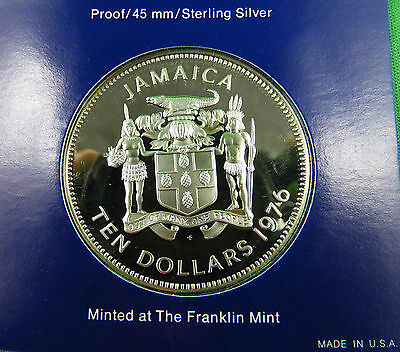 1976 Jamaica $10 Sterling Silver coin **Franklin Mint** 42.80g