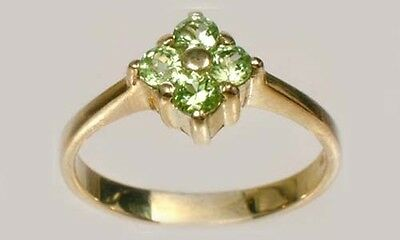 """Handcrafted Peridot Medieval Protection Against Vampires + """"Night Hags"""" 9kt Gold"""