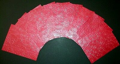 Embossed RED paper with PEARLESCENT finish  x 10 - Scrapbooking,Cardmaking,