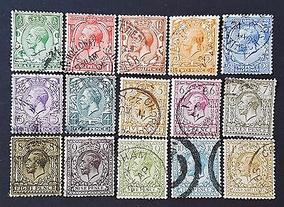 Great Britain GB UK Sg # 351 to Sc # 365 Royal Cipher Fine Used Stamps Set of 15