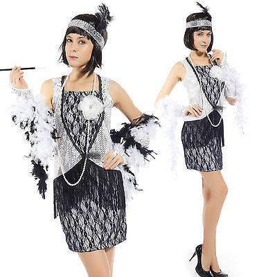 Sexy Cosplay Costume Donna 1920s Chicago con Frange Paillette Carnevale Argento