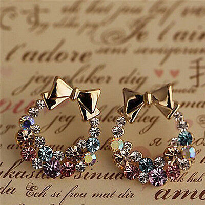 1Pair Women Lady Elegant Crystal Rhinestone Fashion Ear Stud Earrings Jewelry