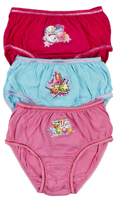 Girls Shopkins 3 Pack Briefs Pink Knickers Underwear 3 pairs Kids Xmas Gift Size