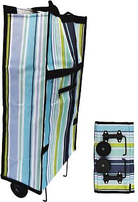 New Folding Shopping Trolley Bag Cart With Wheels Light Weight Compact Size BLUE