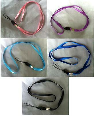 Bulk - 5 to 50 Neck Lanyards -USB-Mobile Phone-ID - Black-Pink-Purple-Blue - New