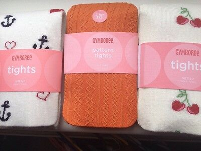 Young Girls 3 Pairs Tights Gymboree Age 5-7 Years New Cherries Sailor Orange