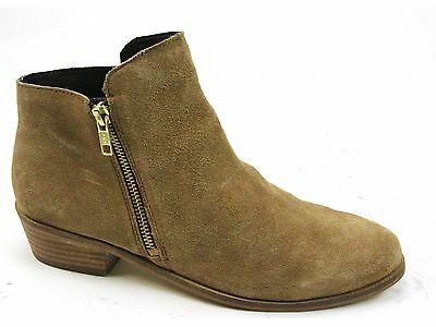 Womens Schuh Galaxy Tan Suede Western Zip Up Block Heels Ankle Boots Uk Size 6