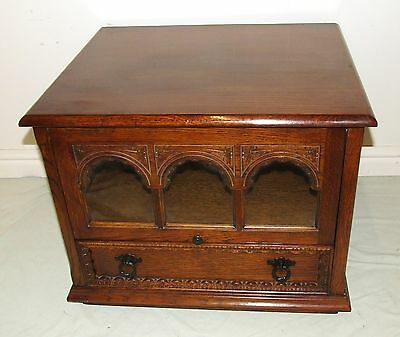 Traditional Antique Style Carved Corner Oak TV Media Cupboard Cabinet Stand