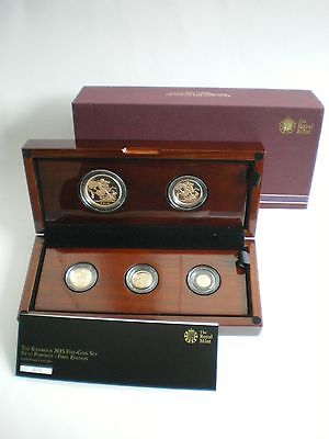 Rare 2015 Royal Mint Uk Gold Proof Five 5 Coin Sovereign Set - Fifth Portrait