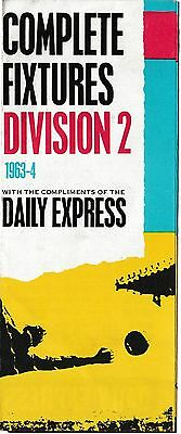 Daily Express 1963-64 Division 2 Football Fixtures Card/leaflet