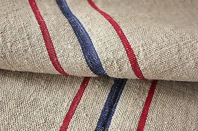Vintage GRAIN SACK fabric material linen red blue  2.65 YDS old upholstery