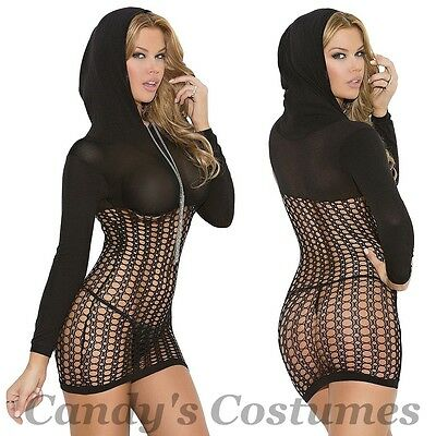 Black HOODED Long Sleeve FISHNET Mini DRESS See-Through CROCHET Net HOODIE