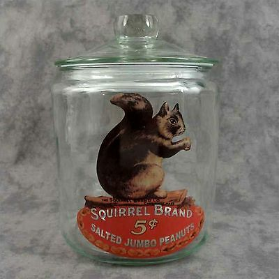 GLASS SQUIRREL BRAND PEANUTS LARGE COUNTER JAR CANISTER w/ AIR TIGHT SEAL LID