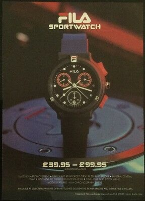 1991 A4 Football magazine picture poster FILA SPORTS WATCH ADVERT