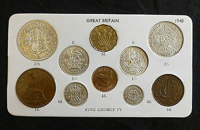 1940 George VI 10-Coin Type Year Set On Card ( Halfcrown - Farthing ) inc silver