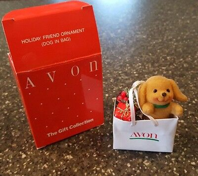 Avon Gift Collection Holiday Friend Christmas Ornament Dog In White Avon Bag NIB
