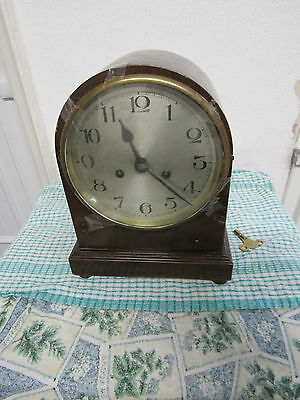 Vintage Mahagony Cased Mantle Clock Needing Some T.l.c. Complete -Pendulum & Key