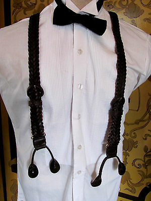 Mens Brown Weaved Leather Suspenders with Gold Tone Hardware Vintage Look