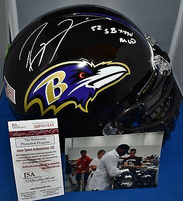 Ray Lewis Signed F/s Replica Custom Mask Helmet Baltimore Ravens Sb Xxxv Mvp Jsa