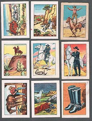 1951 Hopalong Cassidy Lithographed in Canada Trading Cards Lot of 9