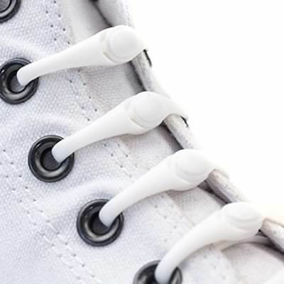 HICKIES Kids No-Tie Elastic Shoelaces - White (10 HICKIES Laces, Works In All