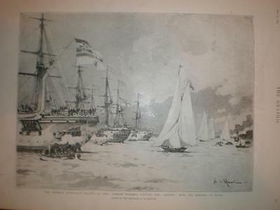 Yacht regatta Kiel Germany with Kaiser's Meteor 1893